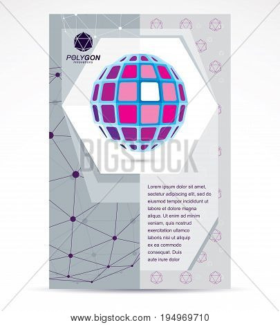 New technology theme booklet cover design front page. Abstract three-dimensional colorful shape vector design element.