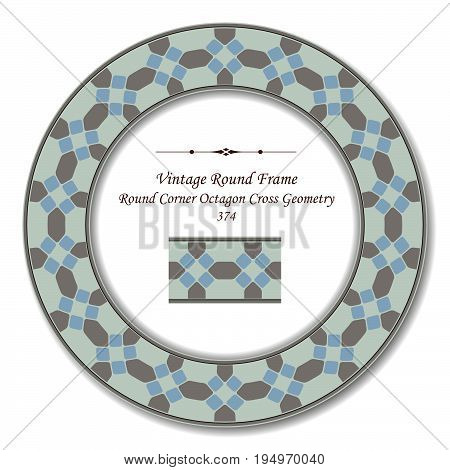 Vintage Round Retro Frame Of Round Corner Octagon Cross Geometry
