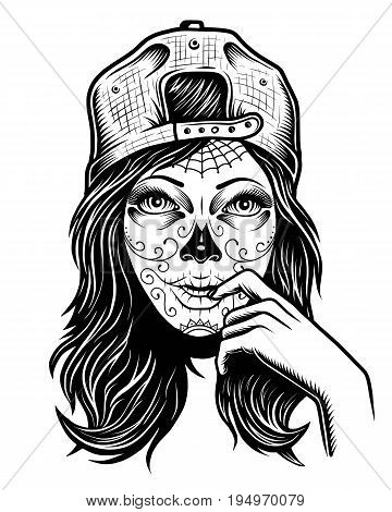 Illustration of black and white skull girl with cap on head on white background
