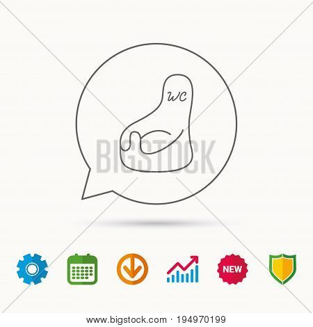 Baby wc icon. Child toilet sign. Washroom or lavatory symbol. Calendar, Graph chart and Cogwheel signs. Download and Shield web icons. Vector