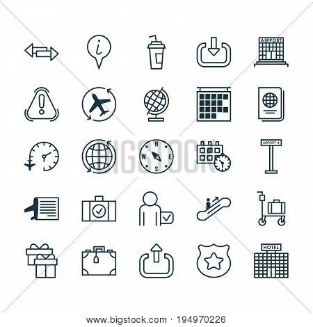 Transportation Icons Set. Collection Of World, Cop Symbol, Siren And Other Elements. Also Includes Symbols Such As Exclamation, Globetrotter, Resort.