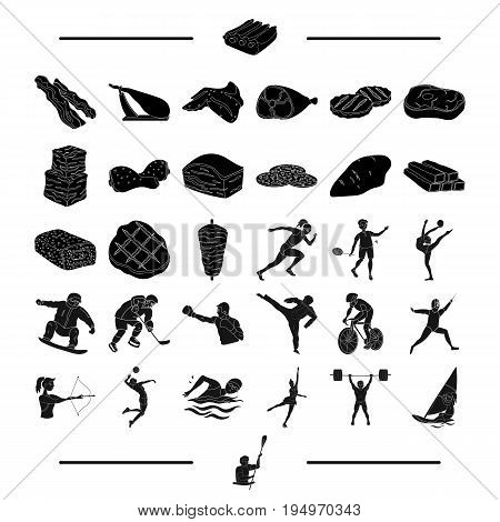 food, sports, jealous and other  icon in black style.mittens, boat, cyclist icons in set collection.