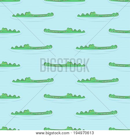Seamless crocodile pattern. Alligators in water ornament. Vector background.