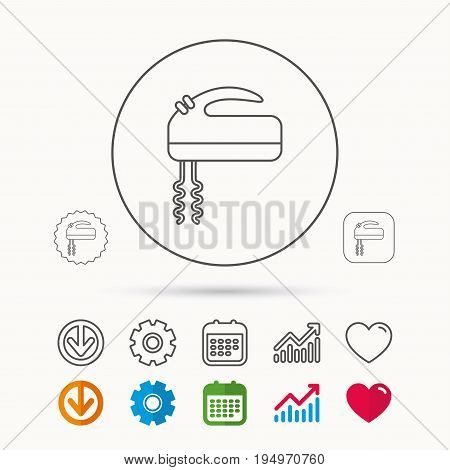 Blender icon. Mixer sign. Calendar, Graph chart and Cogwheel signs. Download and Heart love linear web icons. Vector