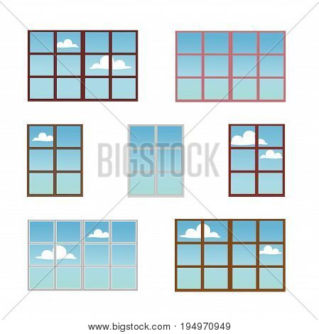 A set of window frames in different colors. Reflection of a Sunny day in the glass. The view from the window at the sky with clouds. Vector illustration. Isolated on the white .
