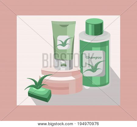 Vector organic Cosmetics set package. Hydration water formula cream and lotion, liquid soap. Perfect for advertising, flyer, banner, poster. Pink color 2d illustrations