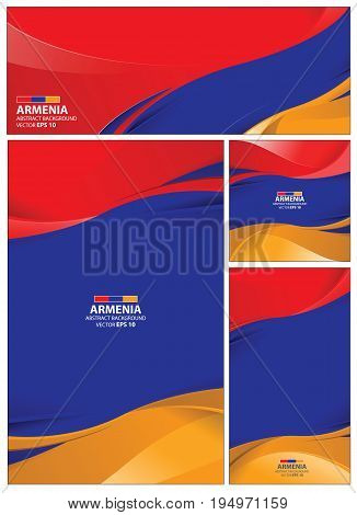 Armenia flag abstract colors background. Collection banner design. brochure vector illustration.