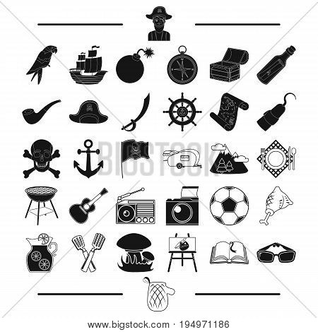 picnic, history, adventure and other  icon in black style. mitts, rest, appliances, icons in set collection