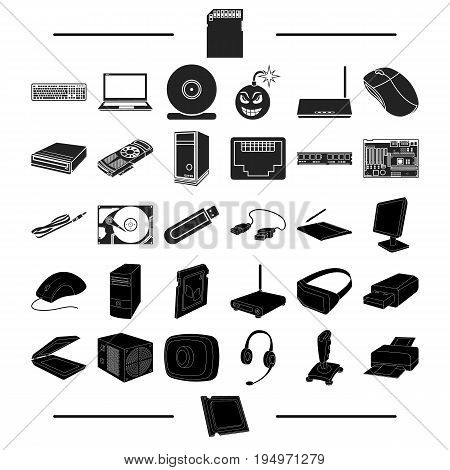 information, Technique, progress and other  icon in black style., plateau, folder, tools icons in set collection
