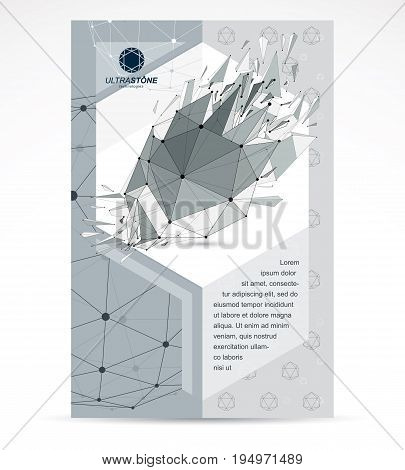Computer technologies creative advertisement brochure. Vector abstract black and white 3d mesh broken object design element technology low poly template with broken refractions.
