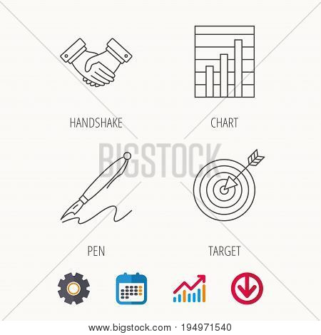 Handshake, graph charts and target icons. Pen linear sign. Calendar, Graph chart and Cogwheel signs. Download colored web icon. Vector