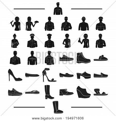 slates, manufacture, profession and other  icon in black style.suede, textiles, rubber icons in set collection.