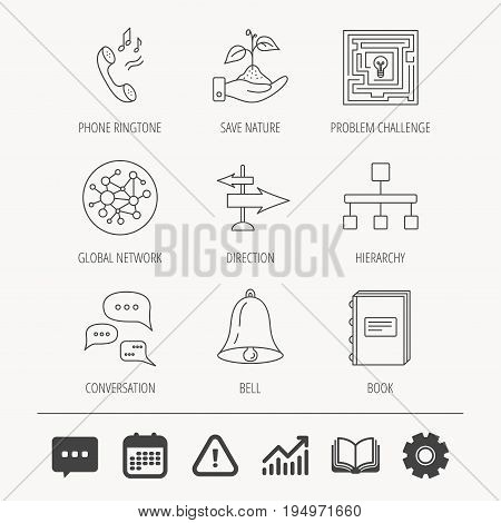 Conversation, global network and direction icons. Save nature, maze and book linear signs. Bell and phone ringtone flat line icons. Education book, Graph chart and Chat signs. Vector