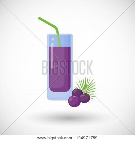 Acai berries juice vector flat icon Flat design of superfood or healthy eating object with round shadow isolated on the white background cute vector illustration with reflections