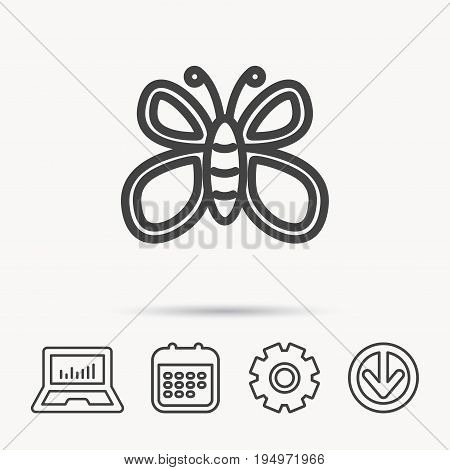 Butterfly icon. Flying lepidoptera sign. Dreaming symbol. Notebook, Calendar and Cogwheel signs. Download arrow web icon. Vector