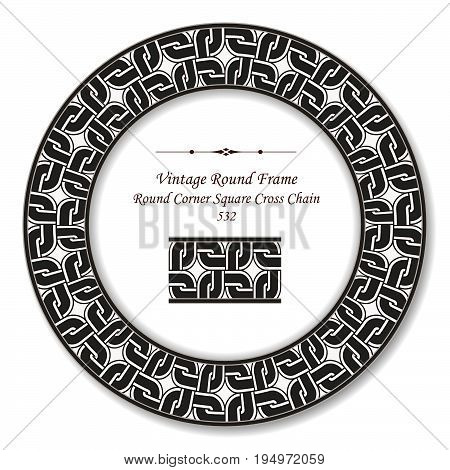 Vintage Round Retro Frame Round Corner Square Cross Geometry Chain