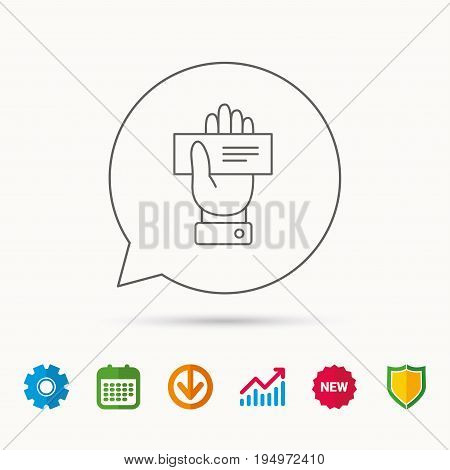 Cheque icon. Giving hand sign. Paying check in palm symbol. Calendar, Graph chart and Cogwheel signs. Download and Shield web icons. Vector