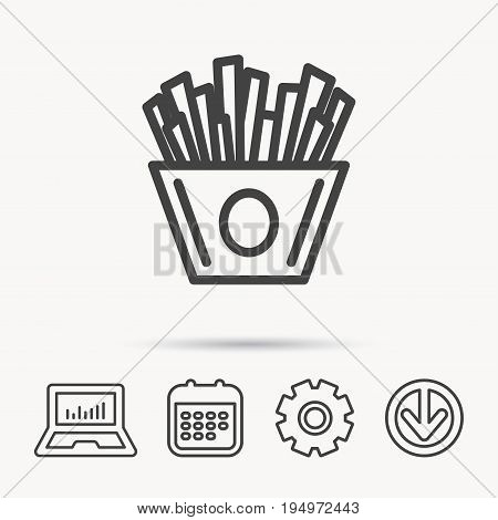 Chips icon. Fries fast food sign. Fried potatoes symbol. Notebook, Calendar and Cogwheel signs. Download arrow web icon. Vector