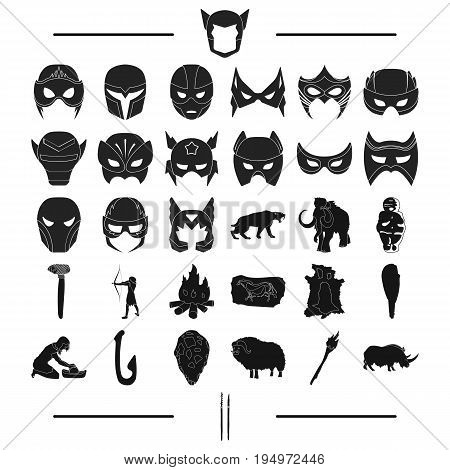 attributes, primitive, century and other  icon in black style., animals, history, art icons in set collection