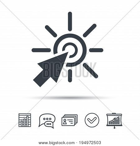 Click icon. Computer mouse cursor symbol. Chat speech bubble, chart and presentation signs. Contacts and tick web icons. Vector