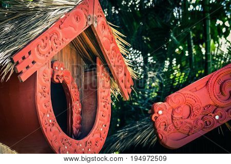 Honolulu Hawaii - May 27 2016: A Maori Pataka (food store) in the Aotearoa Village at the Polynesian Cultural Center a popular tourist attraction on Oahu.