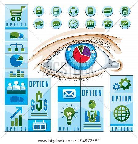 Creative infographics concept human eye looking eye idea vector illustration.