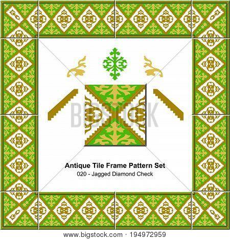 Antique Tile Frame Pattern Set Jagged Diamond Check