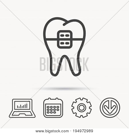 Dental braces icon. Tooth healthcare sign. Orthodontic symbol. Notebook, Calendar and Cogwheel signs. Download arrow web icon. Vector