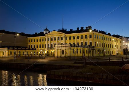 Presidential Palace during the night in Helsinki, Finland