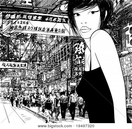 Hand drawing of a chinese girl in Hong Kong (vector) (all the signs are fictitious)