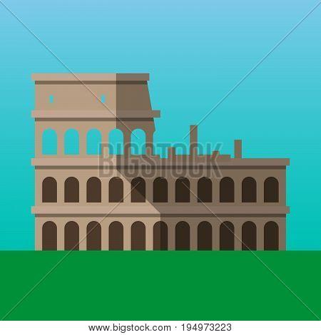 Coliseum in Rome Italy vector illustration. Flavian Amphitheater flat style icon. Most famous world landmark. Travel flat design vector graphics