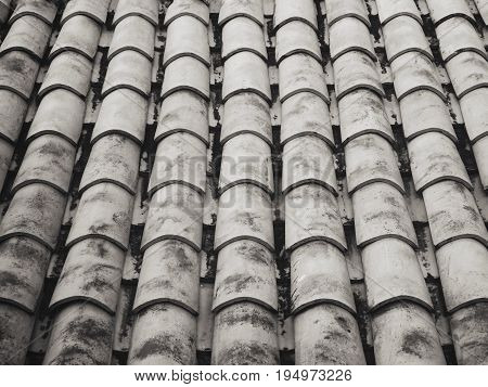 Corrugated roof tile with stain in black and white color, perspective view.