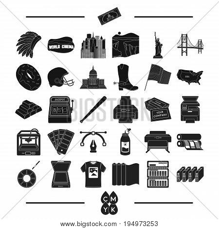construction, tourism, isport and other  icon in black style.tools, business, roulette, icons in set collection