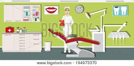 Dentist office interior design with dental chair, dentist, medical cabinet and dental tools. Flat style vector illustration.