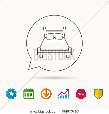 Double bed icon. Sleep symbol. Calendar, Graph chart and Cogwheel signs. Download and Shield web icons. Vector