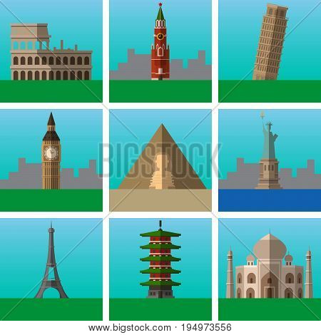 Famous places and landmarks vector illustrations set modern flat icons collection Signs logo illustrations. Set include famous places as Coliseum Statue of Liberty Egypt pyramids Eiffel Tower