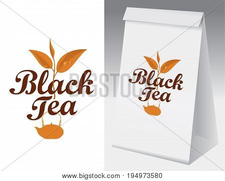 Paper packaging with label for black tea. Vector label for black tea with a pattern branch and kettle and paper 3d package with this label.