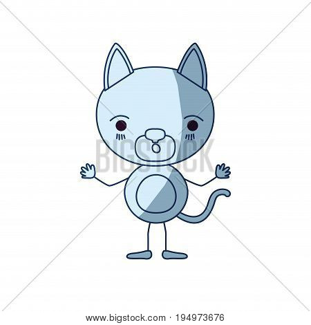 blue color shading silhouette caricature of cute kitten astonished expression vector illustration