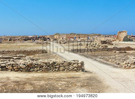 PAPHOS - JUNE 30, 2017: Panorama of House of Theseus in archaeological park. Kato Paphos, Cyprus.