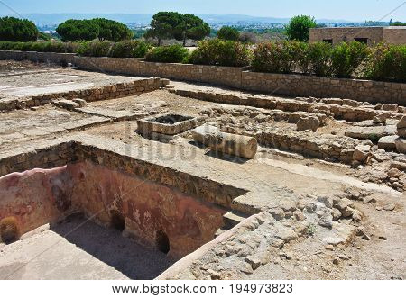 Ancient ruins in archaeological park. Kato Paphos, Cyprus.