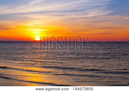 Amazing sunset on the empty beach Cape Cod USA