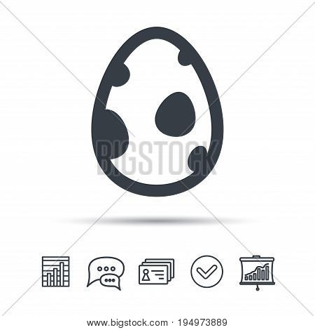 Dinosaur egg icon. Birth symbol. Pokemon egg concept. Chat speech bubble, chart and presentation signs. Contacts and tick web icons. Vector