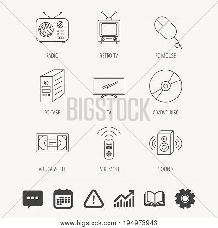 Retro TV, radio and DVD disc icons. PC mouse, VHS cassette and sound speaker linear signs. Education book, Graph chart and Chat signs. Attention, Calendar and Cogwheel web icons. Vector