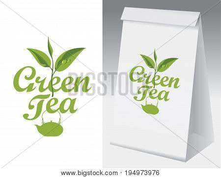 Paper packaging with label for green tea. Vector label for green tea with branch with leaves tea and paper 3d package with this label.