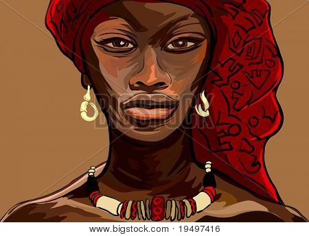 vectorillustratie van een Afrikaanse vrouw