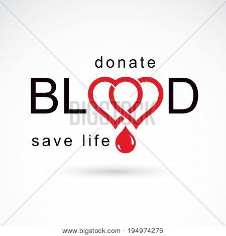 Volunteer donorship healthcare and medical treatment conceptual logo composed with red heart shape and blood drops.