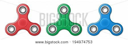 Hand fidget spinner toy - stress and anxiety relief. Red, green and blue spinner plastic toys. EPS 10
