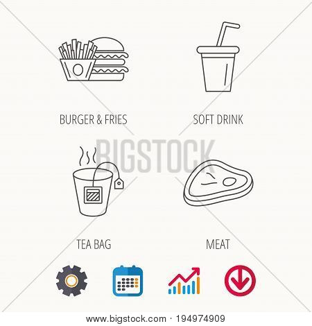Hamburger, meat and soft drink icons. Tea bag linear sign. Calendar, Graph chart and Cogwheel signs. Download colored web icon. Vector