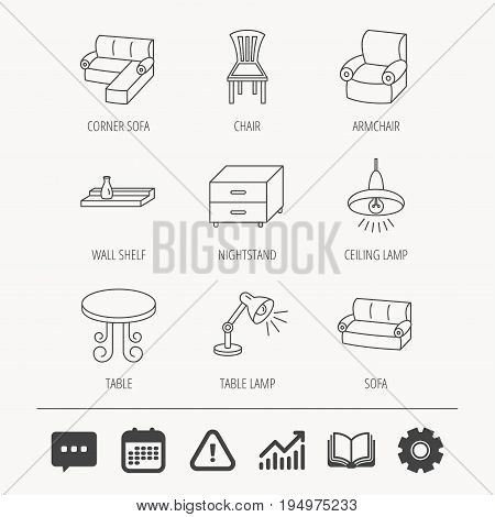 Corner sofa, table and armchair icons. Chair, ceiling lamp and nightstand linear signs. Wall shelf furniture flat line icons. Education book, Graph chart and Chat signs. Vector