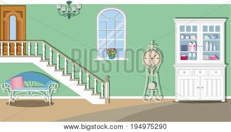 Vintage living room interior design with stairs, window, sofa, cupboard, chandelier and clock. Flat style vector illustration.